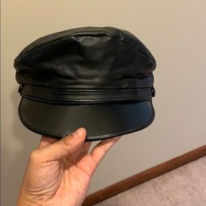 True Vintage Genuine Black Leather Baker Boy Cap